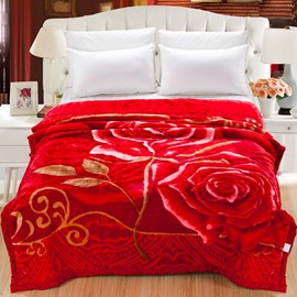 Bright Red Rose Printed Super Soft Flannel Fleece Bed Blanket