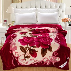 Rose Red Clip Cord Flowers Printed Flannel Fleece Bed Blankets