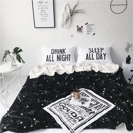 Chic Constellation Pattern Black Fluffy Super Soft Bed Blankets
