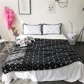 White Flash Nets Pattern Nordic Style Fluffy Super Soft Bed Blankets