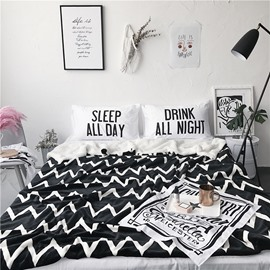 White Waves Pattern Black Nordic Style Fluffy Super Soft Bed Blankets