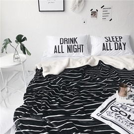 Thin White Stripes Pattern Nordic Style Fluffy Super Soft Bed Blankets