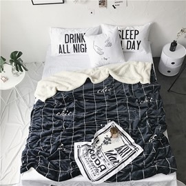 Chic Grid Pattern Black Nordic Style Fluffy Super Soft Bed Blankets