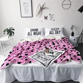 Black Spot Printed Pink Nordic Style Fluffy Super Soft Bed Blankets