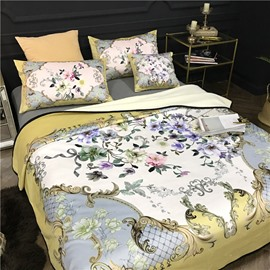 Flowers Blooming Golden Scrolls Luxury Style Reversible Fuzzy Warm Bed Blanket