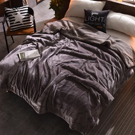 Solid Coffee Flannel Reversible Plush Super Soft Fluffy Throw/Bed Blanket