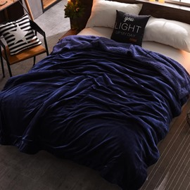 Solid Navy Blue Flannel Reversible Plush Super Soft Fluffy Throw/Bed Blanket