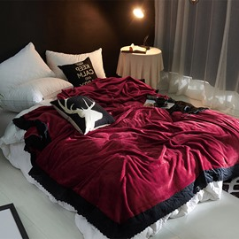 Solid Burgundy Plush with Black Edge Super Soft Fluffy Bed Blanket