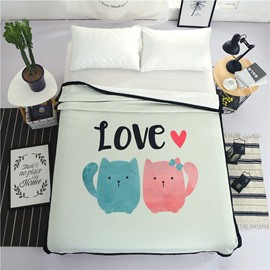 Sweet Cat Lovers Printed Plush Reversible Sherpa Nordic Fluffy Bed Blanket