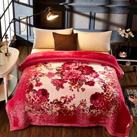 Red Flowers Blooming Printed 2 Ply Reversible Heavy Plush Raschel Bed Blanket