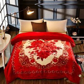 Red Flowers Printed 2 Ply Reversible Heavy Plush Raschel Bed Blanket