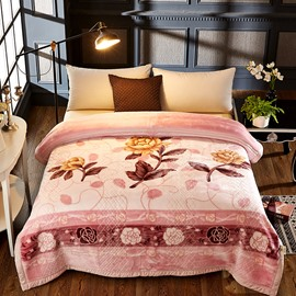 Yellow Flower Printed 2 Ply Reversible Heavy Plush Raschel Bed Blanket