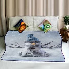 Heavy Snow and Snowman with Scarf Pattern Flannel Bed Blankets