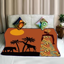Sunset a Elephant and Giraffe with Woman Pattern Flannel Bed Blankets
