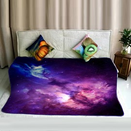 Colorful Clouds and Purple Galaxy Space Pattern Flannel Bed Blankets