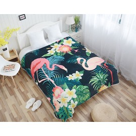 Flamingo and Tropical Plants Pattern Flannel Bed Blankets