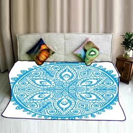 Blue Floral Mandala Pattern Ethnic Style Flannel Bed Blankets