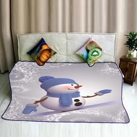 Snowman with Blue Dressing Pattern Flannel Bed Blankets