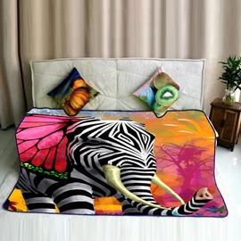 Elephant Printed with Zebra Pattern Soft Flannel Bed Blankets