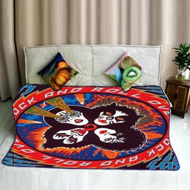 Four Scary Vampire Heads Pattern Flannel Bed Blankets