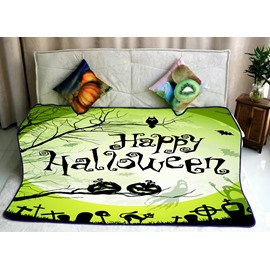 Green Happy Halloween Pattern Super Soft Flannel Bed Blankets