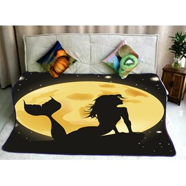 Mermaid Watching the Sunrise Pattern Flannel Bed Blankets