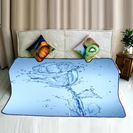 Water Drop and Transparent Rose Pattern Flannel Bed Blankets