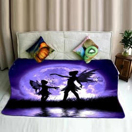 Fairy with Wings Moon Night Dreamy Purple Flannel Bed Blankets