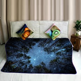Magical Night Forest and Galaxy Space Pattern Flannel Bed Blankets