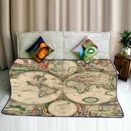 World Map Earth Prints Modern Style Flannel Super Soft Bed Blankets