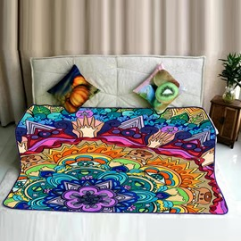 Floral Mandala Pattern Ethnic Style Flannel Super Soft Bed Blankets
