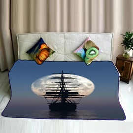 Sea Boat Voyaging with Big Moon Pattern Flannel Plush Soft Bed Blankets