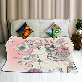 Beautiful Girl and Flowers Pattern Flannel Soft Bed Blankets