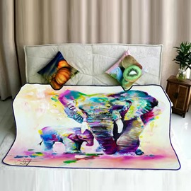 Colorful Painting Elephant with Her Baby Pattern Flannel Bed Blankets