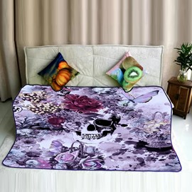 Skull with Flowers and Butterfly Around Pattern Flannel Bed Blankets