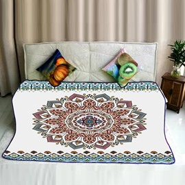 Floral Mandala Pattern Exotic Style Flannel Bed Blankets
