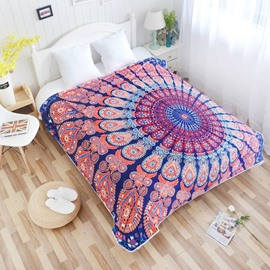 Elegant Mandala Peacock Feather Pattern Exotic Style Flannel Bed Blankets