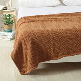 Cotton Material Knitting Technics Plain Pattern Wool Blanket