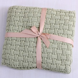 Knitting Technics Cotton Material Rectangle Shape Plain Pattern Thread Blanket