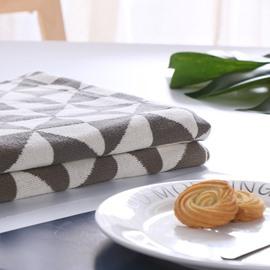 European Style Cotton Material Fall Spring Season Geometric Pattern Towel Blanket