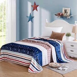 Night City and Starry sky Printing Flannel Bed Blanket