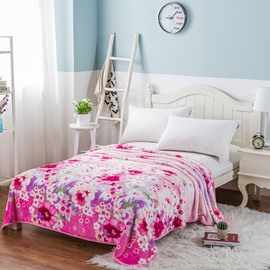 Flower Blooming Printing Red Flannel Bed Blanket