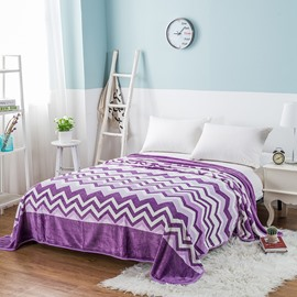Purple Wavy Stripes Printing Flannel Bed Blanket