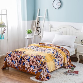 Peonies in Full Bloom Printing Brown Flannel Bed Blanket
