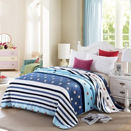 Dots and Stripe Design Flannel Bed Blanket