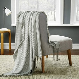 Solid Color Cotton Material Wavy Tassel Knitting Blanket