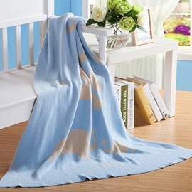 Cartoon Elephant Printing Cotton Material Blue Knitting Blanket for Children