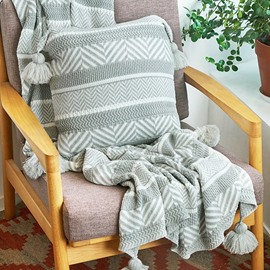 Cotton Material Jacquard Knitting Line Winter Blanket