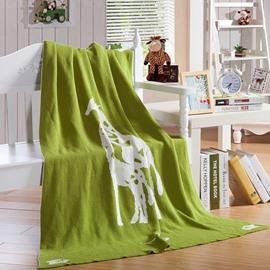 Giraffe Printing Green Cotton Knitting Blanket for Children