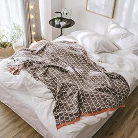Simple Stripe Geometric Cotton Spring Knitting Blanket